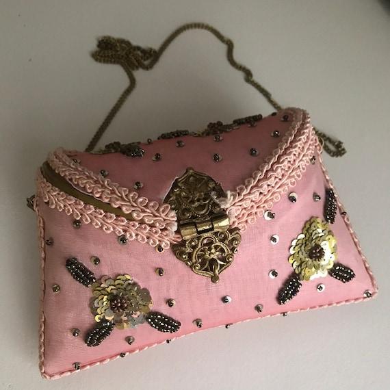 Vintage Locket Beaded Pink Purse