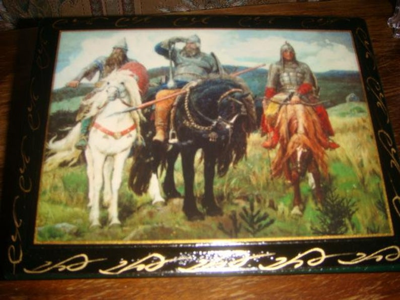vtg Russian Palekh laquer photo album Three bogatirya new c 1980