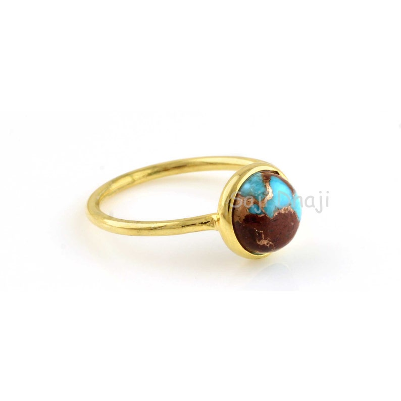 10mm Round Shape Gemstone Ring Gold Plated Ring Lava Copper Turquoise Silver Round Ring Engagement Ring Gift For Her, Gemstone Ring