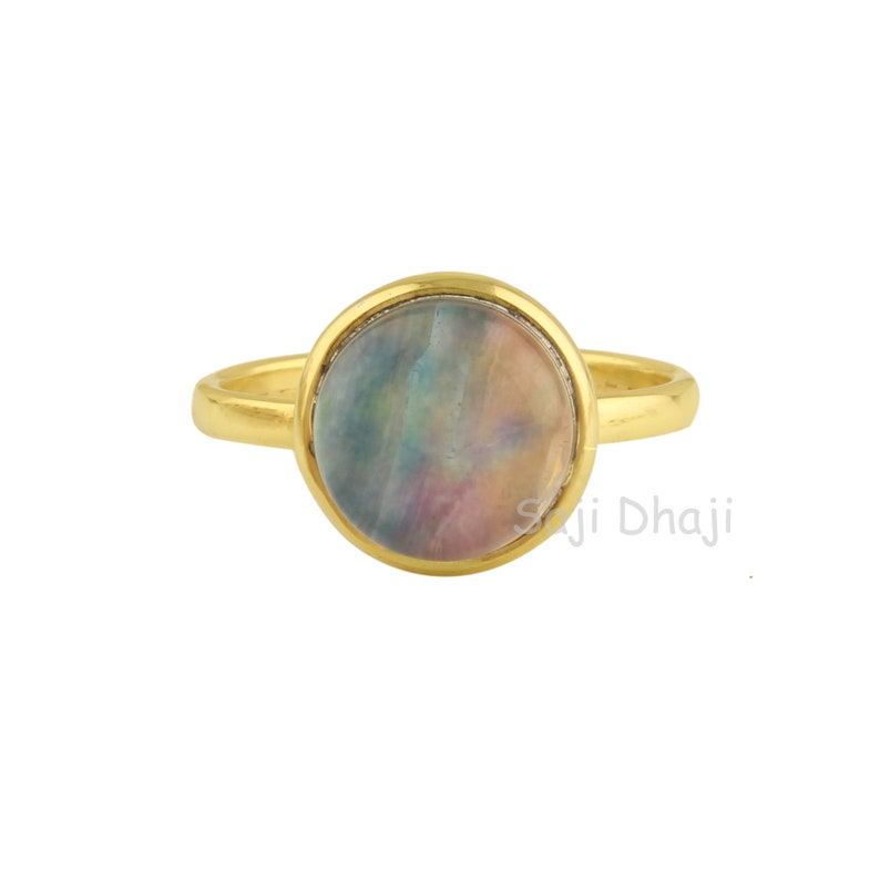 Gift For Her, Gold Plated Ring Abalone Shell Quartz Silver Round Ring 10mm Round Shape Abalone Shell Quartz Gemstone Ring
