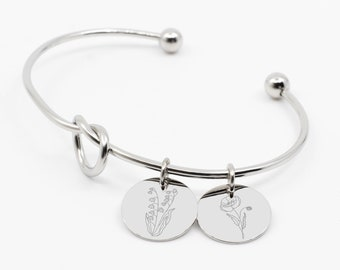 Personalized Knot Bangle, Birth Flower Bracelet, Women Custom Bracelet, Mother's Day Gift, Women Personalized Gifts, Birth Custom Gift