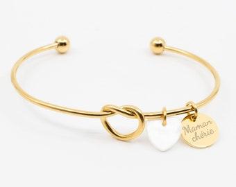 Personalized Bangle Knot Bracelet, Name Bracelet, Tie The Knot Bracelet, Wedding Bracelet, Bridesmaid Bracelet, Mother's Day Bracelet