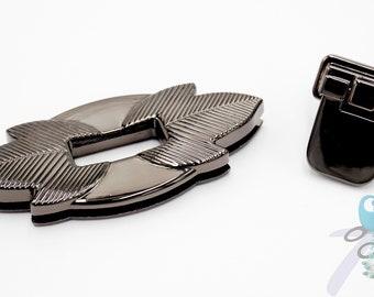 "Pocket purse lock ""Leaf lock"" gunmetal / nickel black"