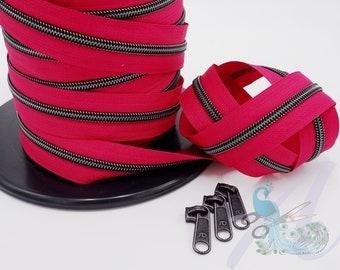 1 m endless zipper incl. 3 zippers - wide metallized fuchsia / magenta - titanium