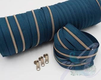 1 m endless zipper incl. 3 zippers - narrow metallized retropetrol - old brass