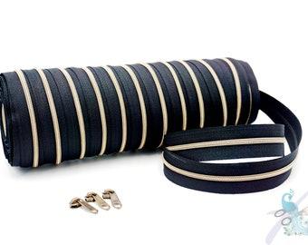 1 m endless zipper incl. 3 zippers - narrow metallized black - old brass