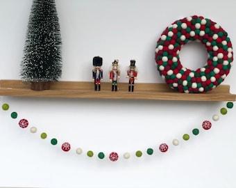 Grey Red Silver Christmas Holiday Felt Ball Pom Pom GarlandgarlandsModern Holiday Decor Candy Cane bannerChristmas garlandMantel Decor