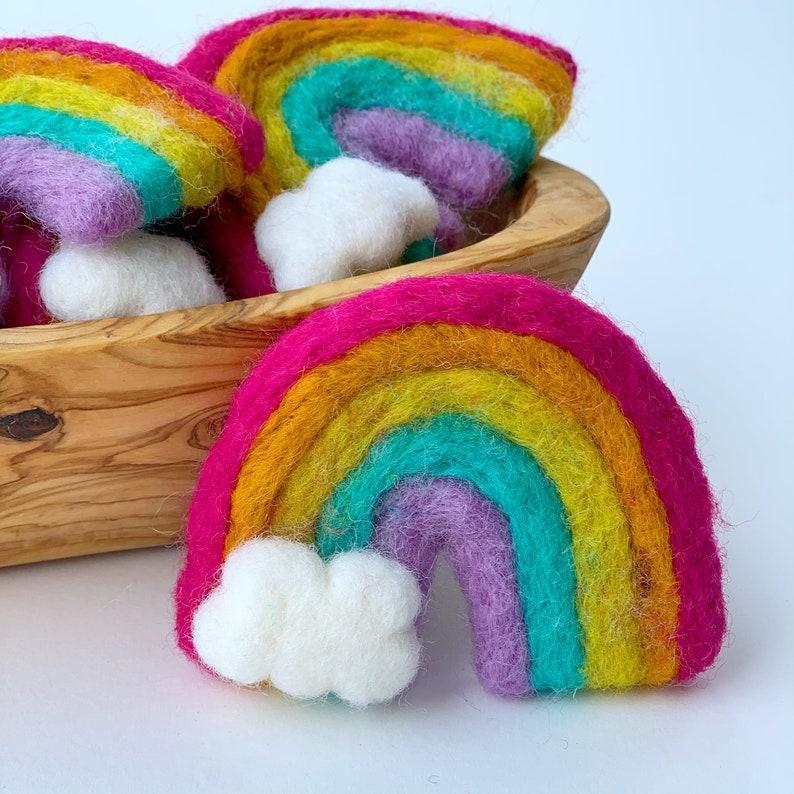 Felt rainbow with cloud Feltball decor Rainbow birthday Spring decor Felted rainbow Handmade felted rainbow bright Shelf decor