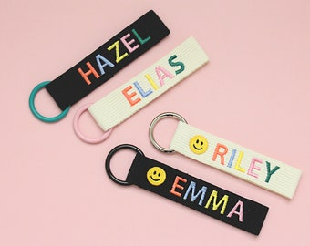 Personalized Name Tag, Bag Tag, Colorful Personalized Embroidery Name tag, Key chain, Teacher gift, Custom key ring, Personalized Gift