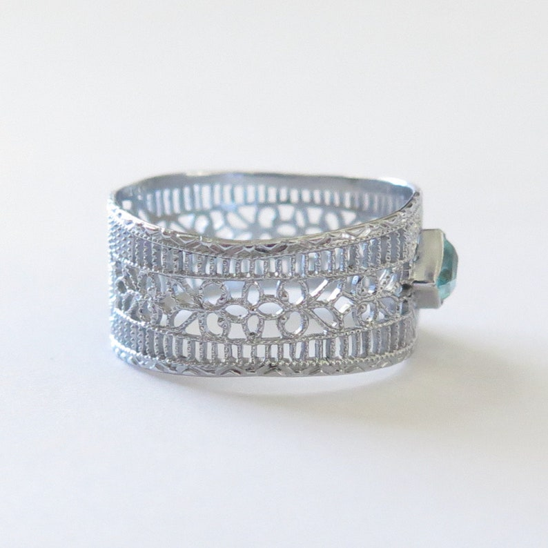 Antique Art Deco 10K White Gold Filigree Ring  ***Upcycled Bar Brooch Conversion***