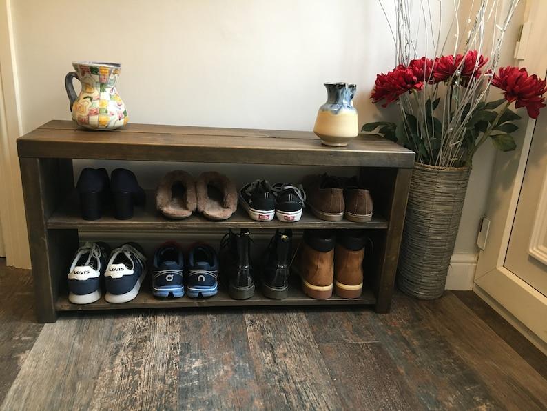 Handmade Wooden Rustic Shoe Rack / Boot Storage Bench  FREE image 1