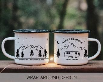 Happy Campers Personalized Mug || airstream rv camper, hiking mug, custom campfire mug, customizable mug, unique camping gifts, vanlife mug