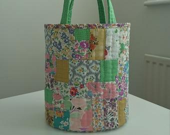 Patchwork bucket bag / fabric basket , Green & grey , Hand sewn.