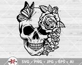 Skull Flower Butterfly Svg, Skull svg, Flower Skull svg, Skull cut file, Floral Skull clip art, Sugar Skull Svg file, skull vector, Skeleton