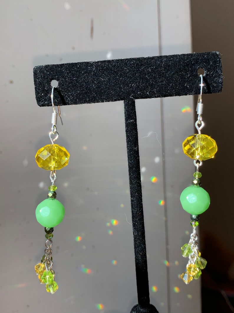 One of my new favorites Long Earrings in greens and yellows so cute! with lots of movement