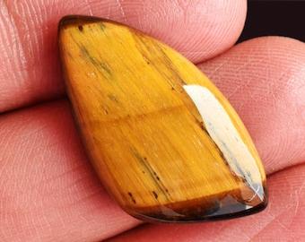 Natural Tiger Eye Gemstone Smooth Cabochon  Best High Quality Loose Gemstone Color Loose Gemstone Top Quality Tiger Eye  24 cts 38x20x5 mm