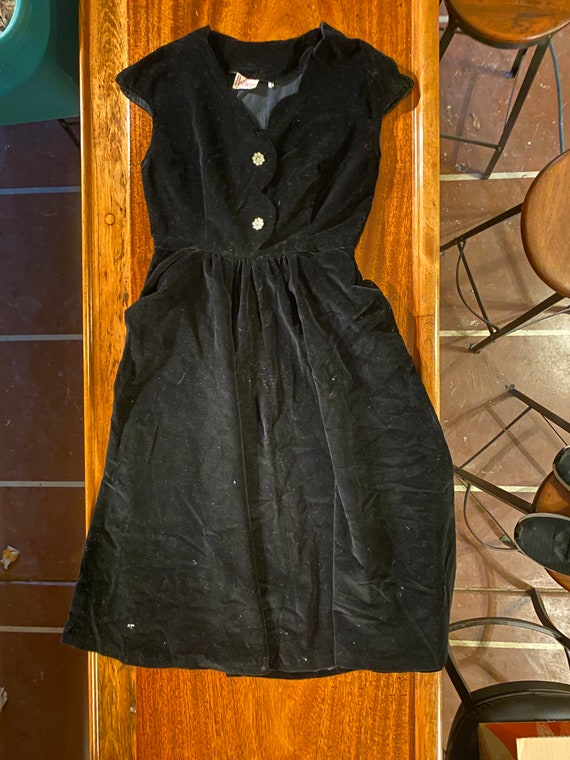 Vintage Petiteen Black Velvet Dress