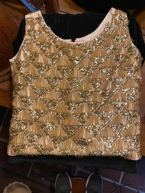 Vintage Sleeveless Sequin & Beaded Top