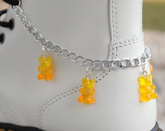 Silver Plated Anklet Gummy Bear Charm Anklet Available in many colours Cute Gummy Bear Anklet Haribo Jewellery Gummy Bear Anklet