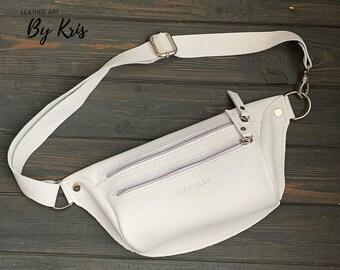 white fanny pack, Leather fanny pack, pack, belt bag, hip bag, bum bag, clothing fanny pack, Leather Hip Bag, waist bag, packs women