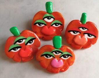 Polymer clay Pumpkin face Pins, third eye