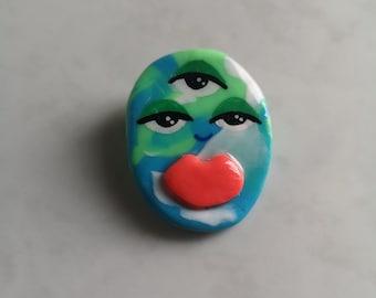 Mini Planet earth-toned face pin