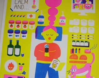 riso print poster A3 / survival kit for quarantine at home / poster / interior / Korean illustrator / illustration poster