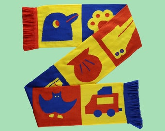 Primary color illustration knitted scarf / knitting / knit scarf / colorful scarf