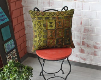 18x18 inch Kilim Pillow Cover, Ethnic Pillow Cover, Bohemian Pillow, Decorative Pillow, Kilim Cushion Cover, Handwoven Pillow Cover /P-750