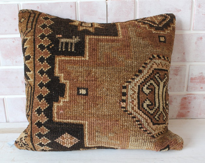 Brown  Rug  Cushion Decorative Rug Pillow Cover RUG  Pillow Cover Turkish Rug Pillow Ethnic Rug Pillow Case