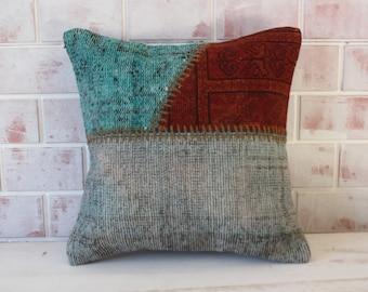 Patchwork Pillow, Vintage Rug Pillow, Ethnic Rug Pillow , Kissen, decorative, ethnic, bohemian, handwoven, 18x18,P-1473