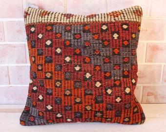20x20 Kilim Pillow, Ethnic Kilim Pillow, Turkish Kilim Cushion Cover, Decorative Pillow, Ethnic Bedding  / P- 193