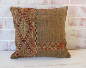 Beige Kilim Pillow, Natural Wool Kilim Pillow, Ethnic Kilim Pillow, Embroidered Kilim Pillow, Vintage Kilim Pillow / P- 1153 / 18x18 inch