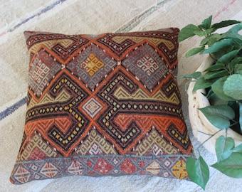 Vintage Kilim Pillow, Ethnic Kilim Pillow, Bohemian Floor Pillow, High Quality Kilim Pillow , Ethnic Floor Pillow / P-1789 / 23x23 inch