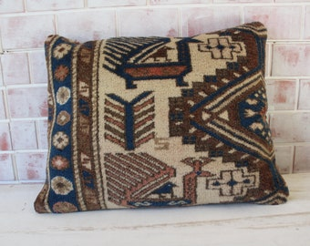 RUG  Pillow Cover, Ethnic Rug Pillow Case,  Rug Cushion , Turkish Rug Pillow, Decorative Rug Pillow Cover / P-1362 / 19X24 inch