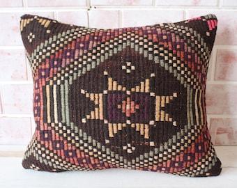 17x20 Kilim Pillow Cover, Ethnic Pillow, Kilim Cushion Cover, Vintage Kilim Pillow, Bench Pillow, Outdoor Pillow, Kilim Rug Pillow, P-257