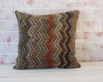 20x20 inch  Zigzag Kilim Pillow , Embroidered Kilim Pillow, Ethnic Kilim Pillow, Vintage Kilim Pillow, Bohemian Kilim Pillow / P-1322
