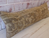 Vintage Tebriz Rug Pillow, Ethnic Rug Pillow, Bench Pillow Cover, Bohemian Pillow, Handwoven Pillow P-2414 12X35 inch