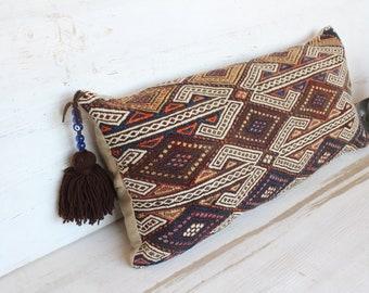 14x28  Special Kilim Pillow Cover, Ethnic Kilim Pillow Cover, Embroidered Kilim Pillow, Bohemian Pillow, Vintage Kilim Pillow Cover