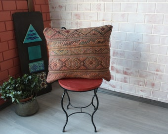 Kilim Pillow Cover, Ethnic Pillow, Kilim Cushion Cover, Vintage Kilim Pillow, Bench Pillow, Outdoor Pillow / P-1298 / 20X24 inch