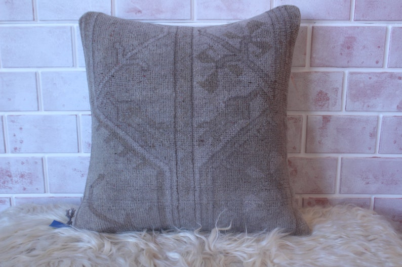Ethnic Rug Pillow Cover RUG Pillow Cover 19x19 inch Anatolian Pillow Case Handwoven Rug Pillow Pale Gray Milas Rug Pillow