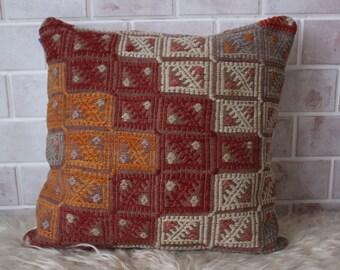 20x20 inch Kilim Pillow Cover, Ethnic Pillow, Kilim Cushion Cover, Vintage Kilim Pillow, Bench Pillow, Outdoor Pillow, Kilim Rug Pillow