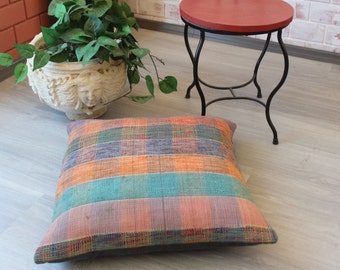 24x24 Rag Rug Pillow Cover, Ethnic Rag Rug Pillow, Vintage Floor  Cushion Cover, Rag Rag Pillow Case