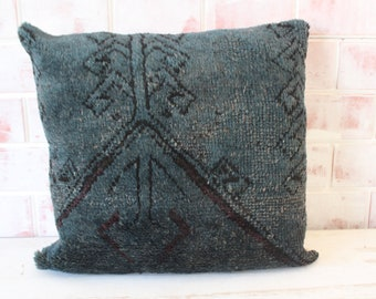 Vintage Rug Pillow, Ethnic Rug Cushion, Handwoven Rug Pillow, Rug Cushion Cover, Vintage Pillow Cover, Beige Pillow / P-1766  / 19x19 inch