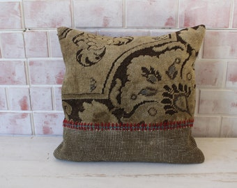 Beige RUG  Pillow , Ethnic Rug Pillow,  Beige Rug Pillow Cushion , Turkish Rug Pillow, Decorative Rug Pillow Cover / P-1577 / 19x19 inch