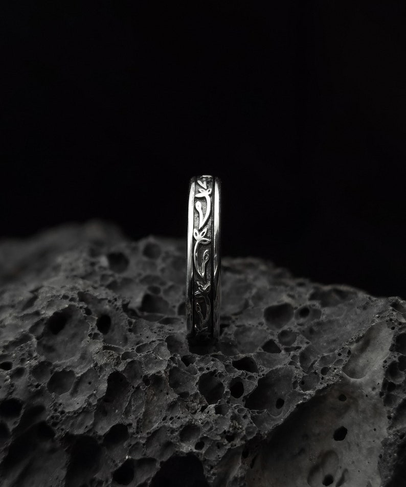 Pattern Sterling silver ring band handmade solid medieval 925  unisex men women punk gothic goth biker mens oxidized jewelry gift her him