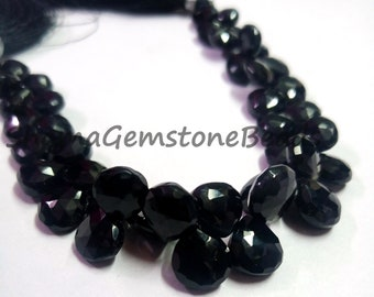 Natural Black Onyx Faceted Pear Drop Briolette Gemstone Beads 2pc 30x10mm