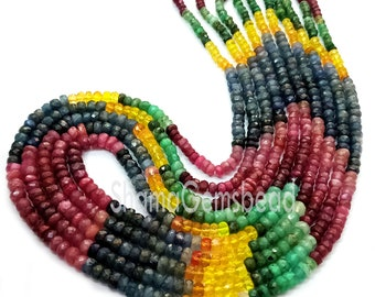 3.5-4.5 mm Natural Multi Semi Precious Round Tyre Heishi full 8 inch Beads strand AAA+ choose different sizes