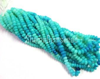Blue Peru Opal Shaded Rondelle Shape Beads, 16 Inch Strand, 6-9mm, Peruvian Opal Smooth Gemstone Beads, Beads Strand