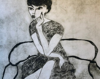 Print. Engraving. vintage woman portrait year 50. woman on a limited edition sofa. original work.